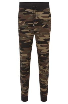 Regular-fit camouflage-print trousers in interlock cotton, Dark Green