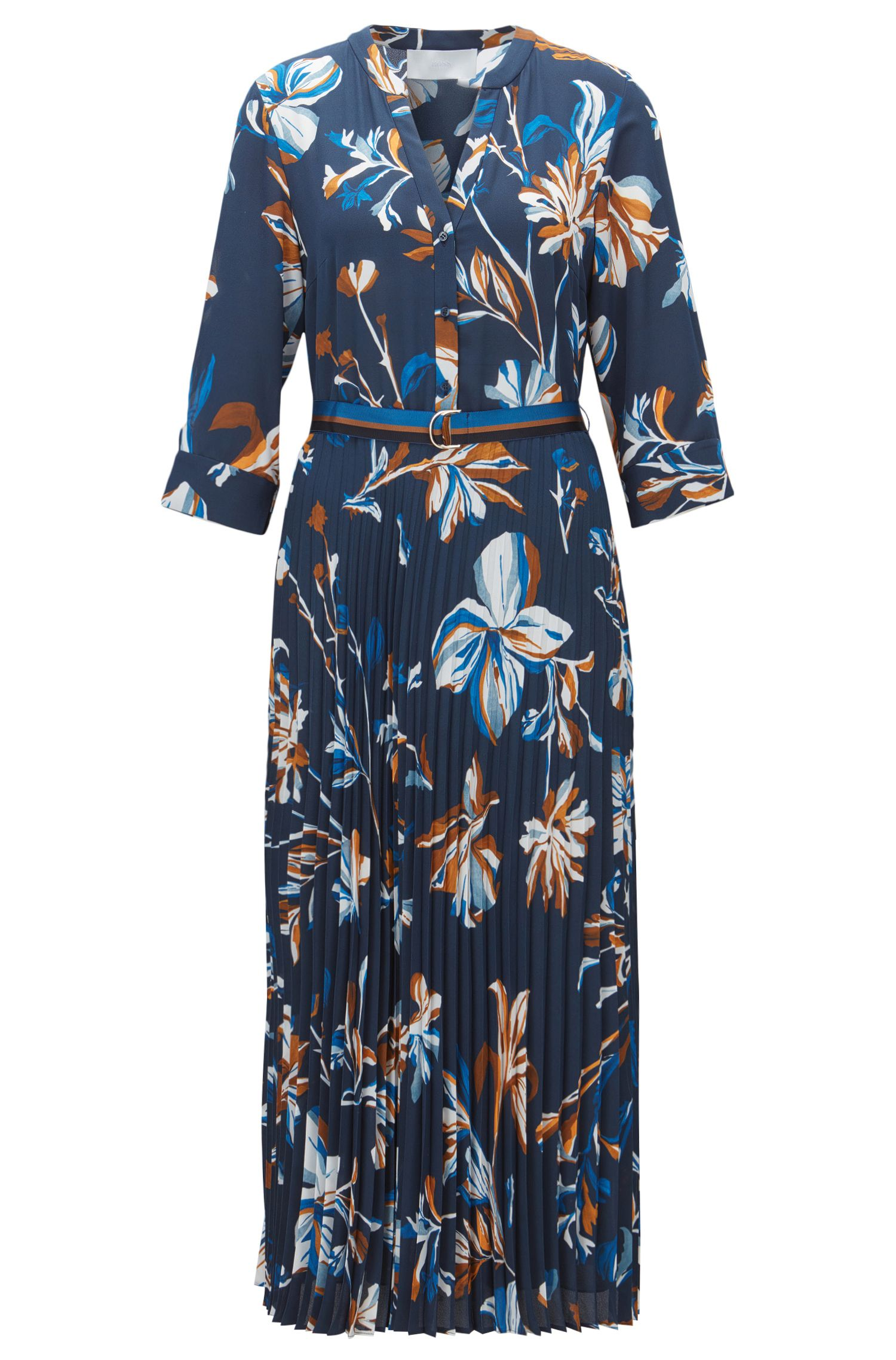 Floral-print belted dress with plissé pleated skirt