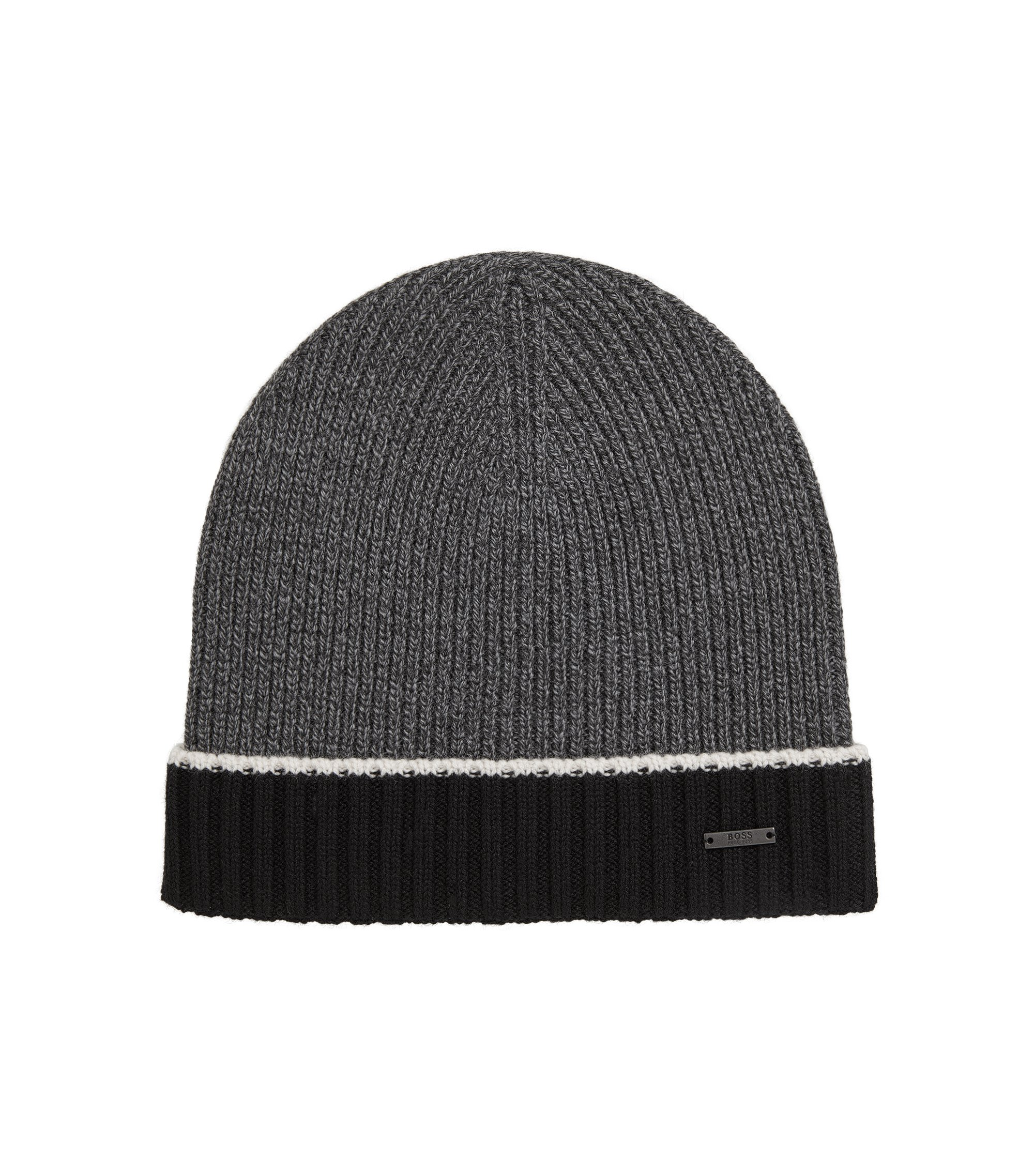 Mouliné beanie hat in virgin wool, Black
