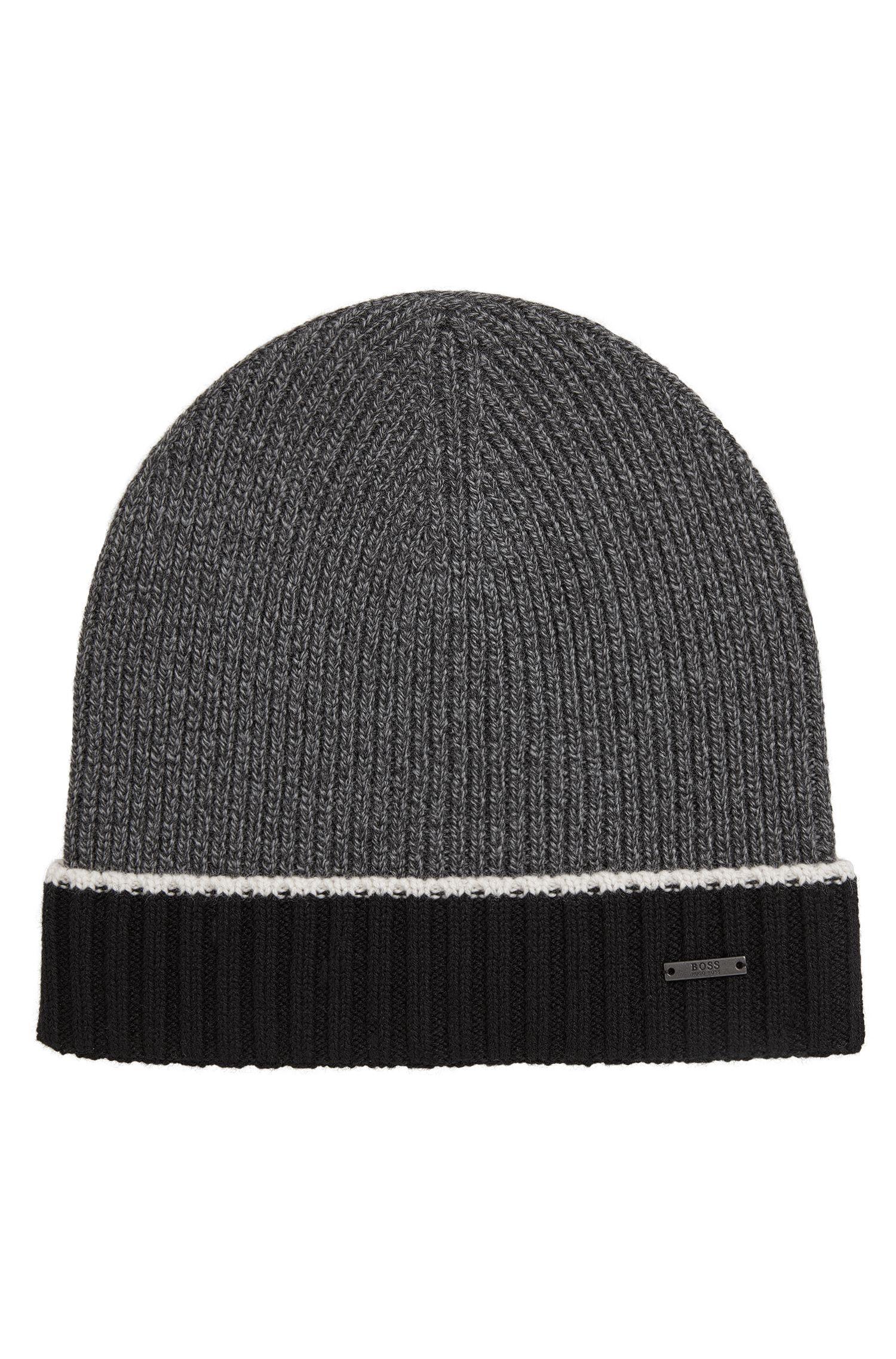 Mouliné beanie hat in virgin wool