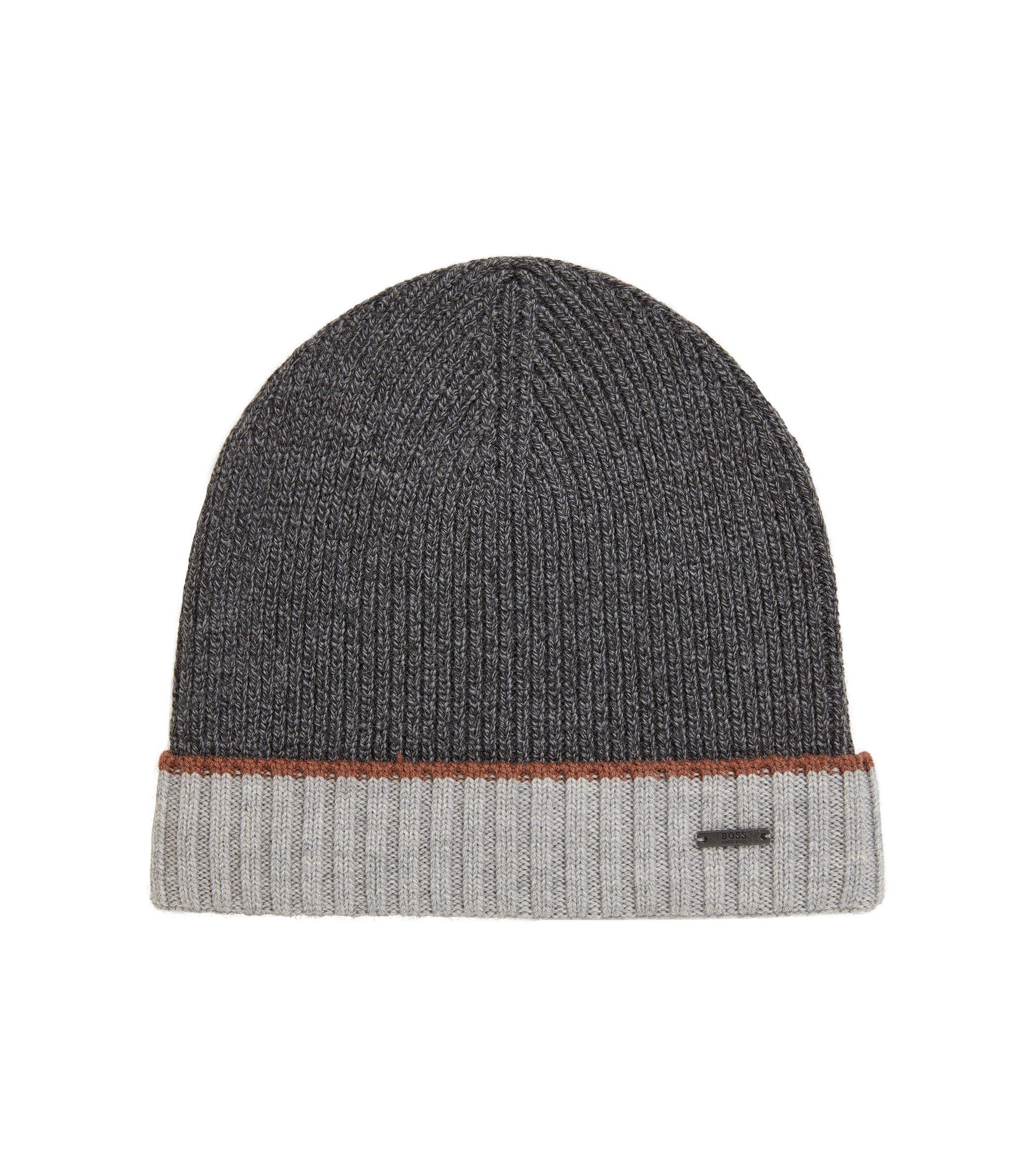 Mouliné-Mütze aus Schurwolle, Grau