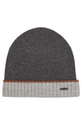 Mouliné beanie hat in virgin wool, Grey