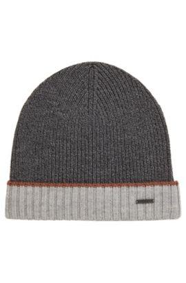 Mouliné beanie hat in virgin wool, Grey