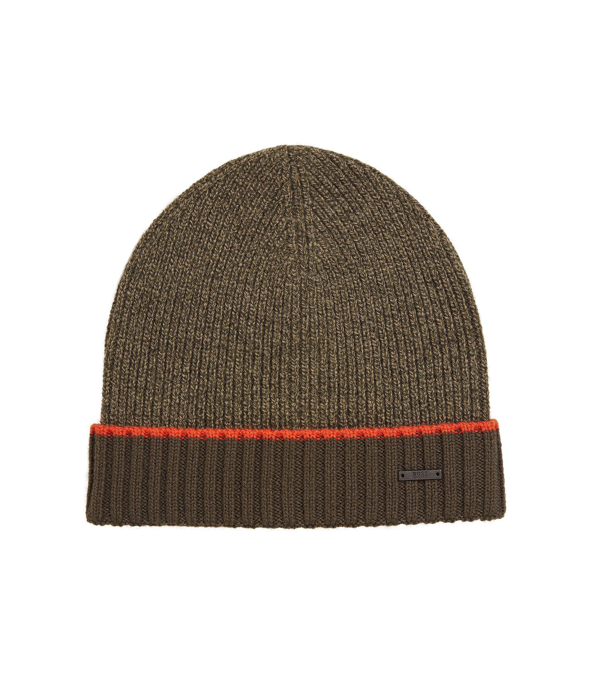 Cappello zuccotto in lana vergine mouliné, Verde