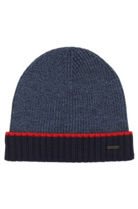 Mouliné beanie hat in virgin wool, Dark Blue