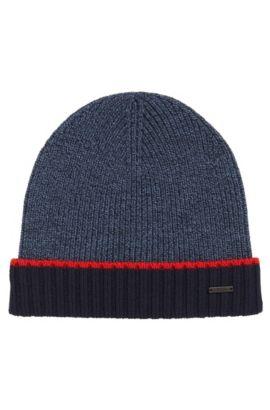 Cappello zuccotto in lana vergine mouliné, Blu scuro