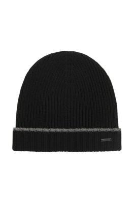 Bonnet en maille de laine vierge, Noir
