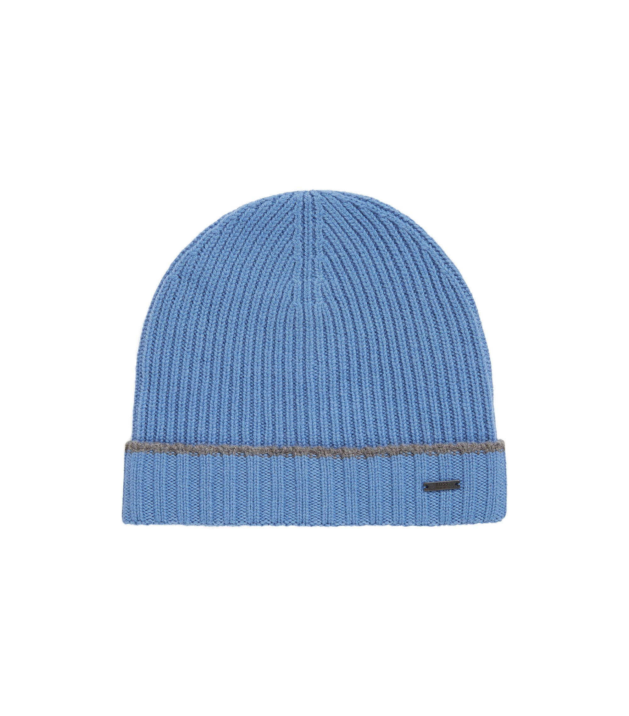 Knitted beanie hat in virgin wool, Blue