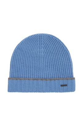 Bonnet en maille de laine vierge, Bleu