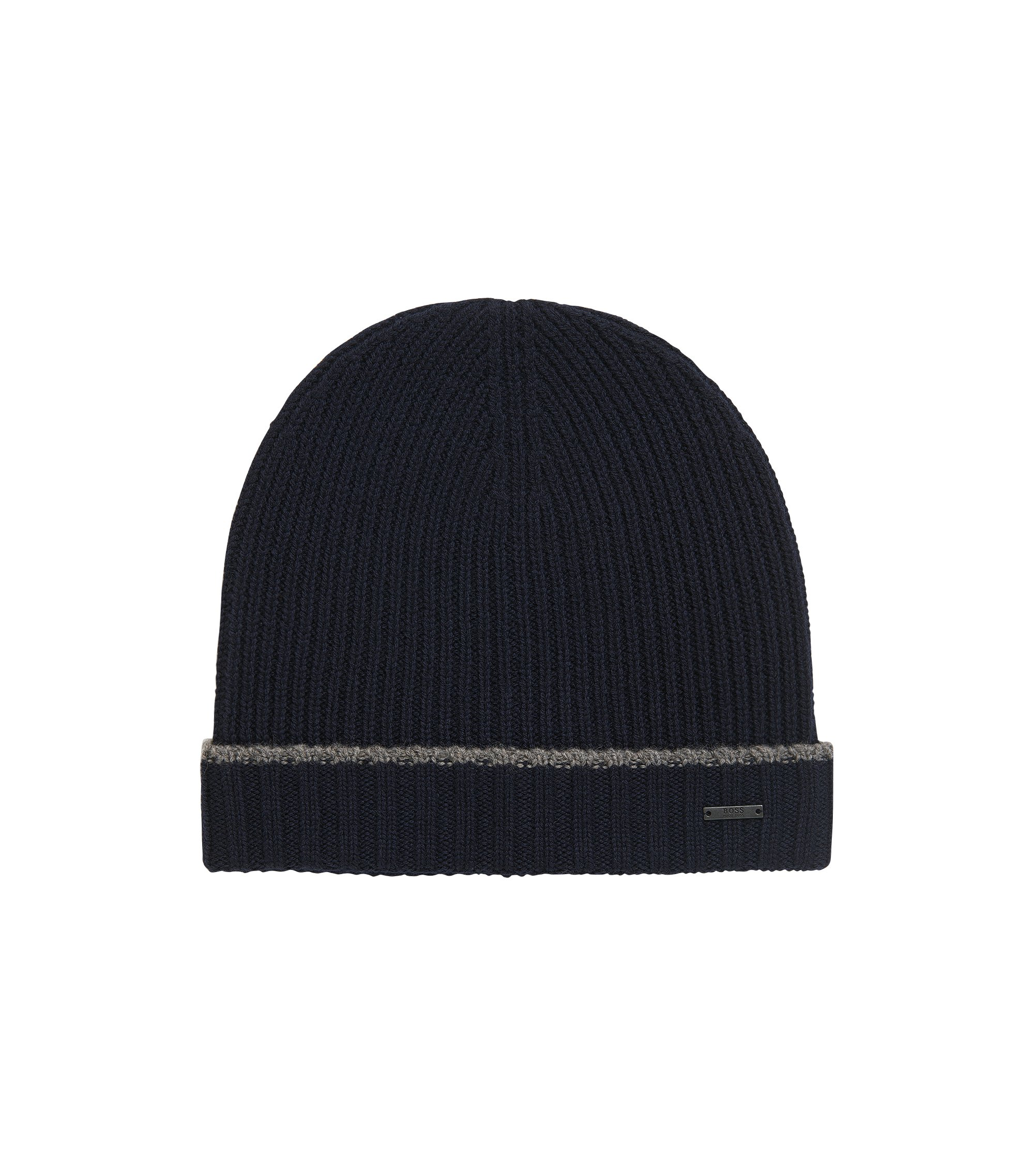 Knitted beanie hat in virgin wool, Dark Blue