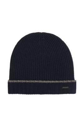 Knitted beanie hat in virgin wool, Dark Blue