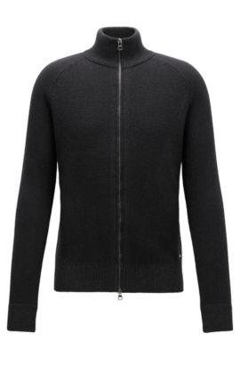 Giacca regular fit in misto cotone con zip, Nero