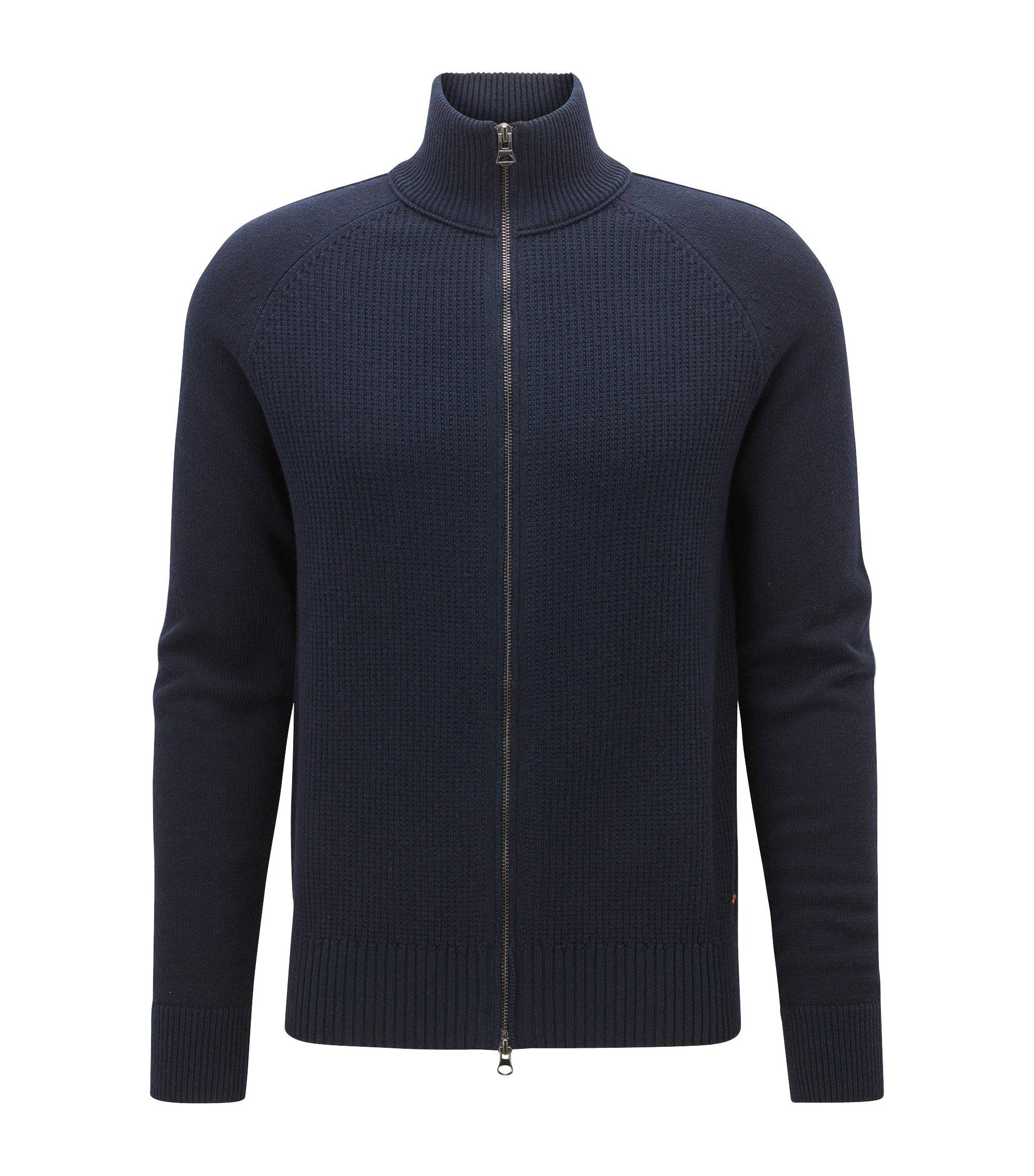 Veste zippée Regular Fit en coton mélangé, Bleu foncé