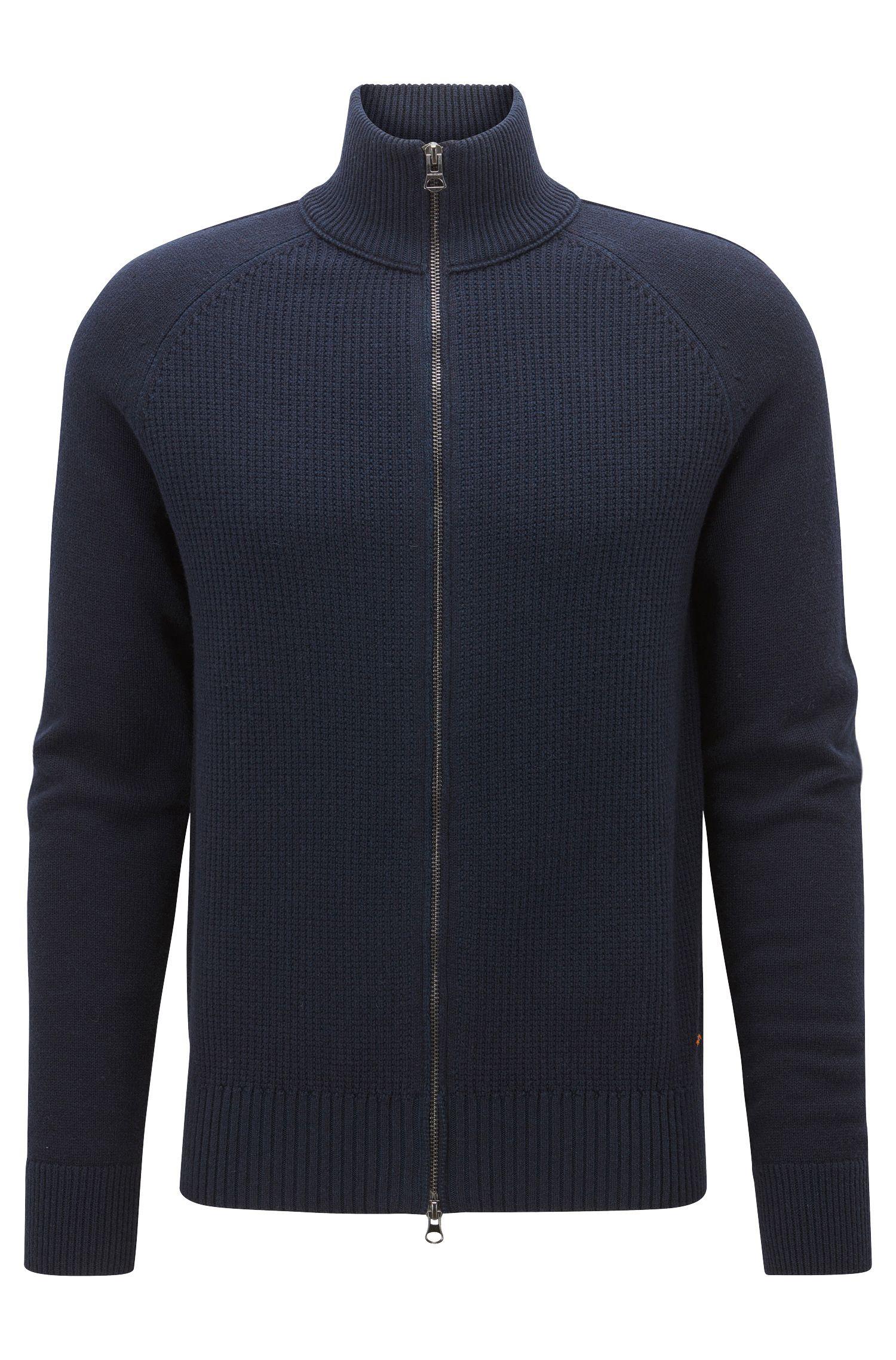 Regular-fit cotton-blend jacket with zip