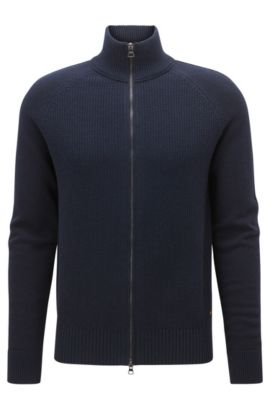 Giacca regular fit in misto cotone con zip, Blu scuro