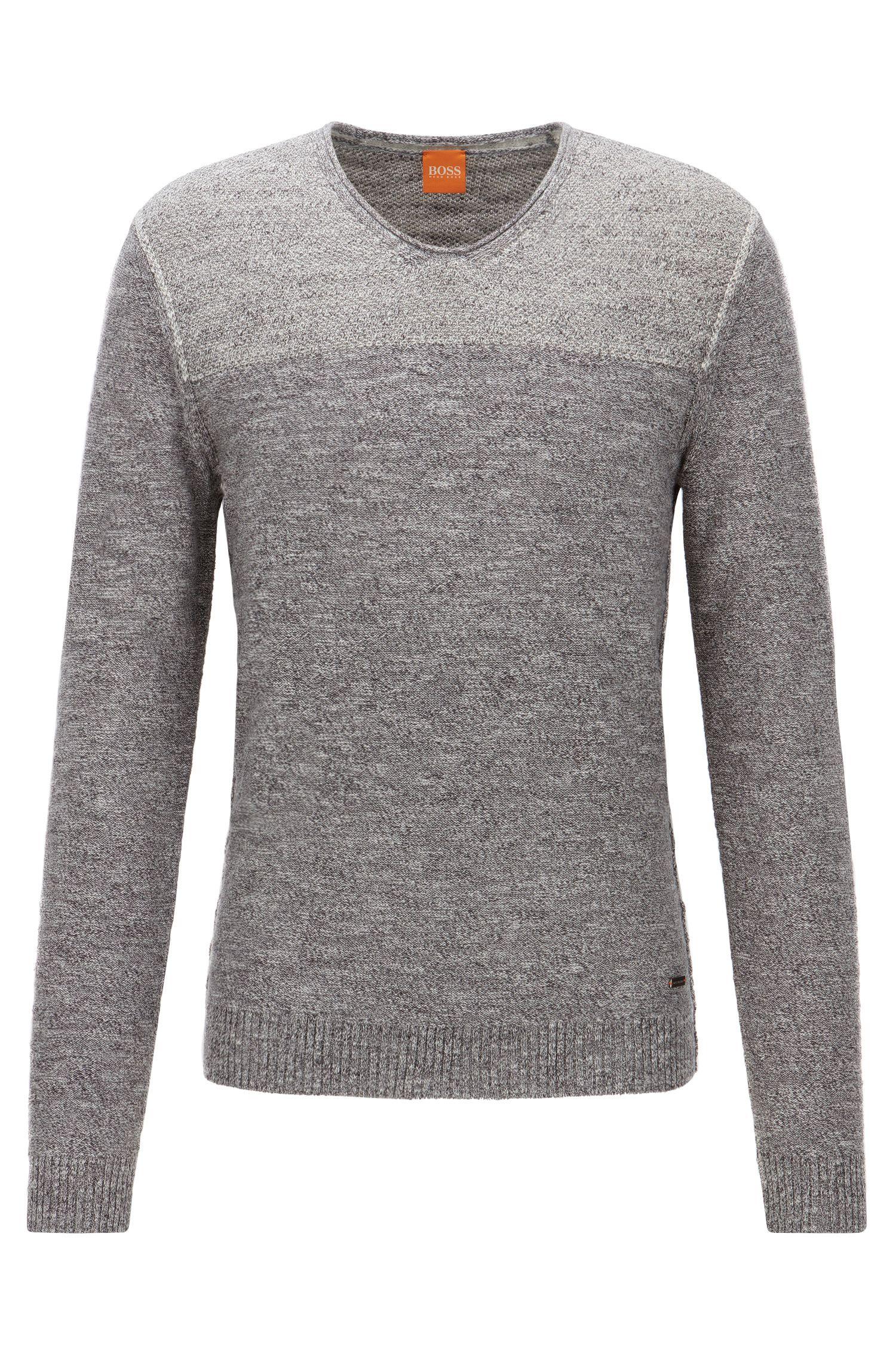 Regular-fit V-neck sweater in cotton