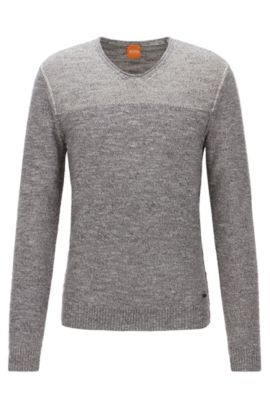 Pull Regular Fit à col V en coton, Gris chiné