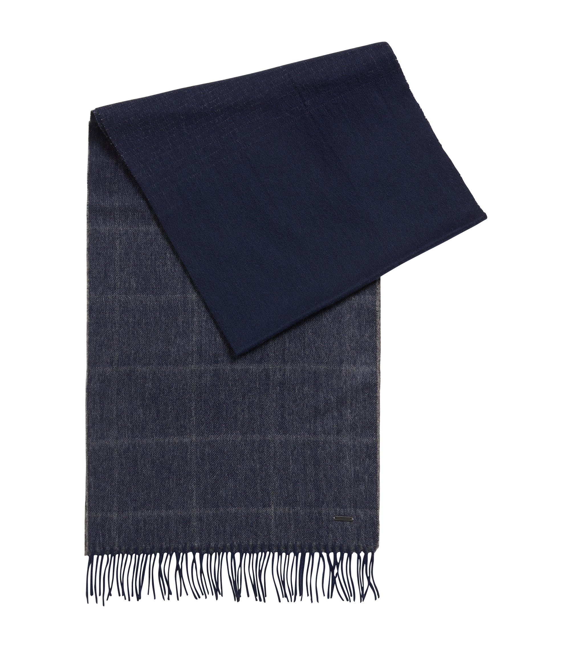 Lightweight graph-check scarf in wool and cashmere, Dark Blue