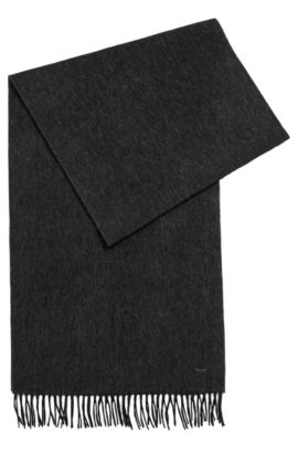 Melange-effect wool scarf, Black