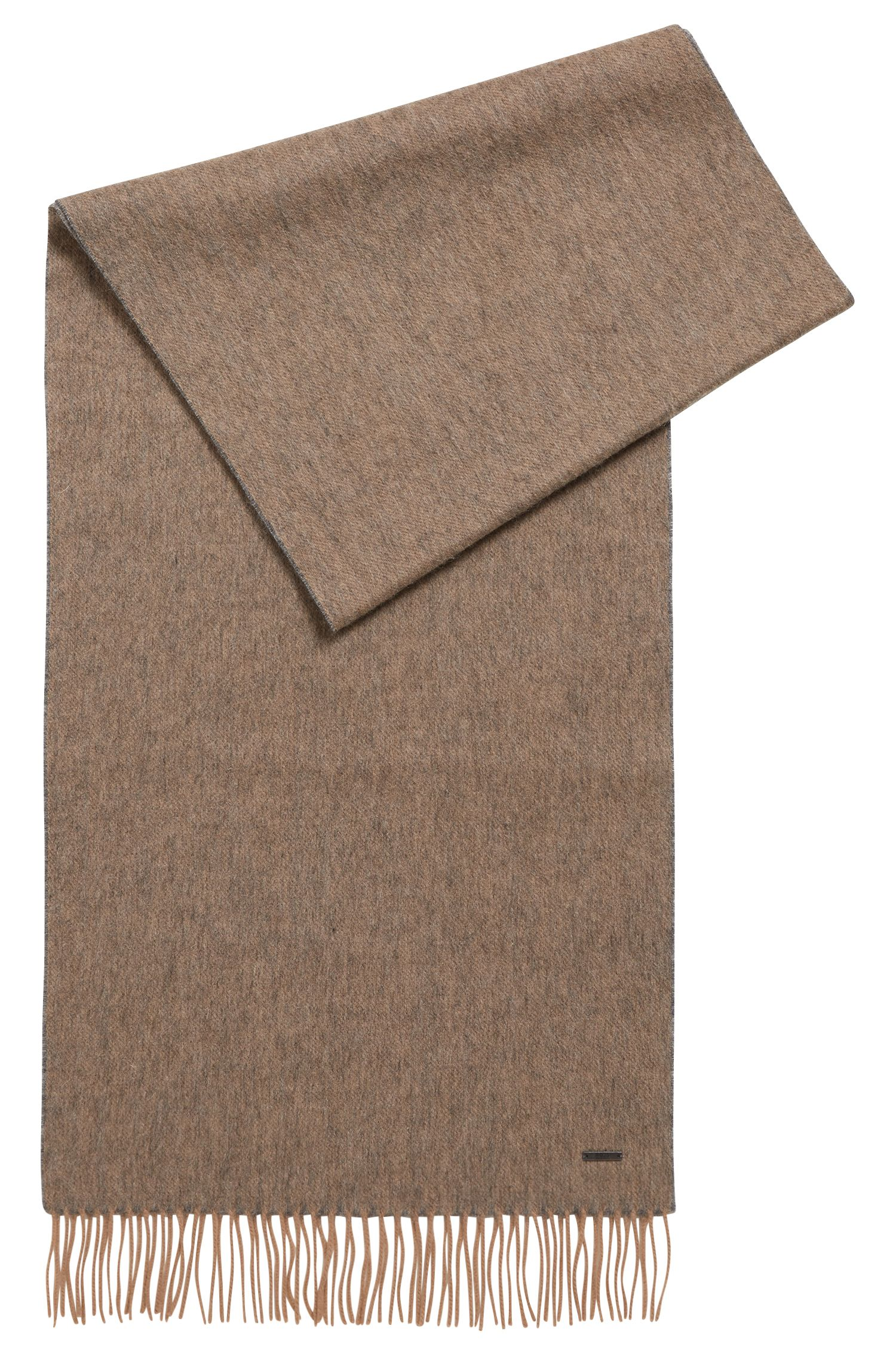 Sjaal van wol met melangelook