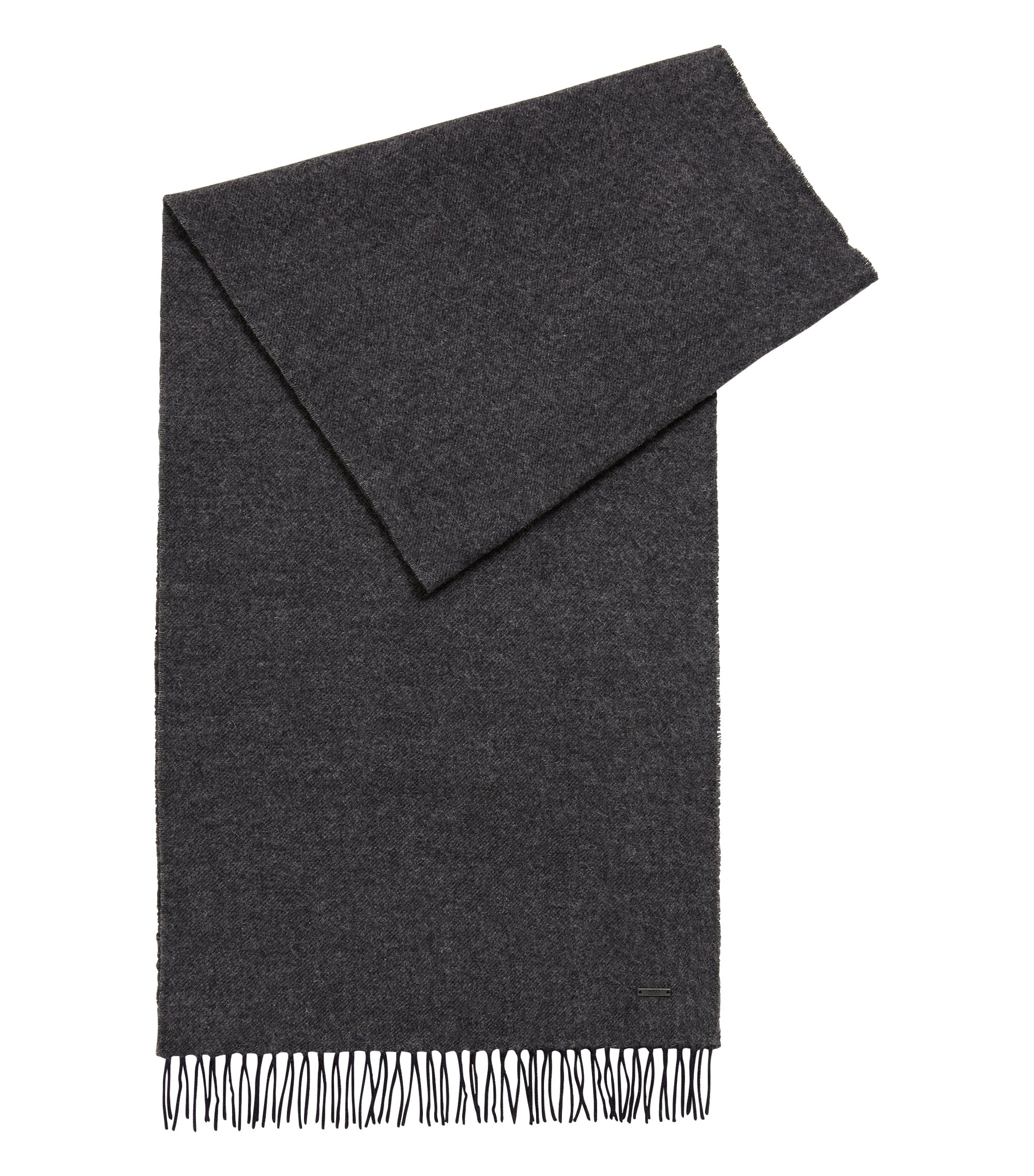 Melange-effect wool scarf, Blue