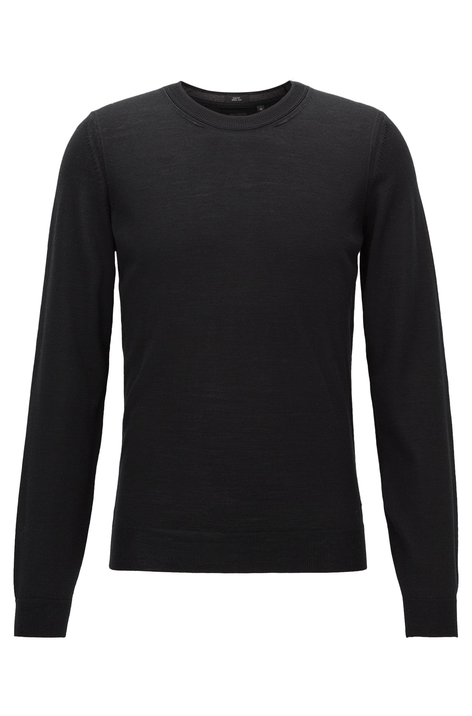 Slim-fit sweater in Italian wool and silk