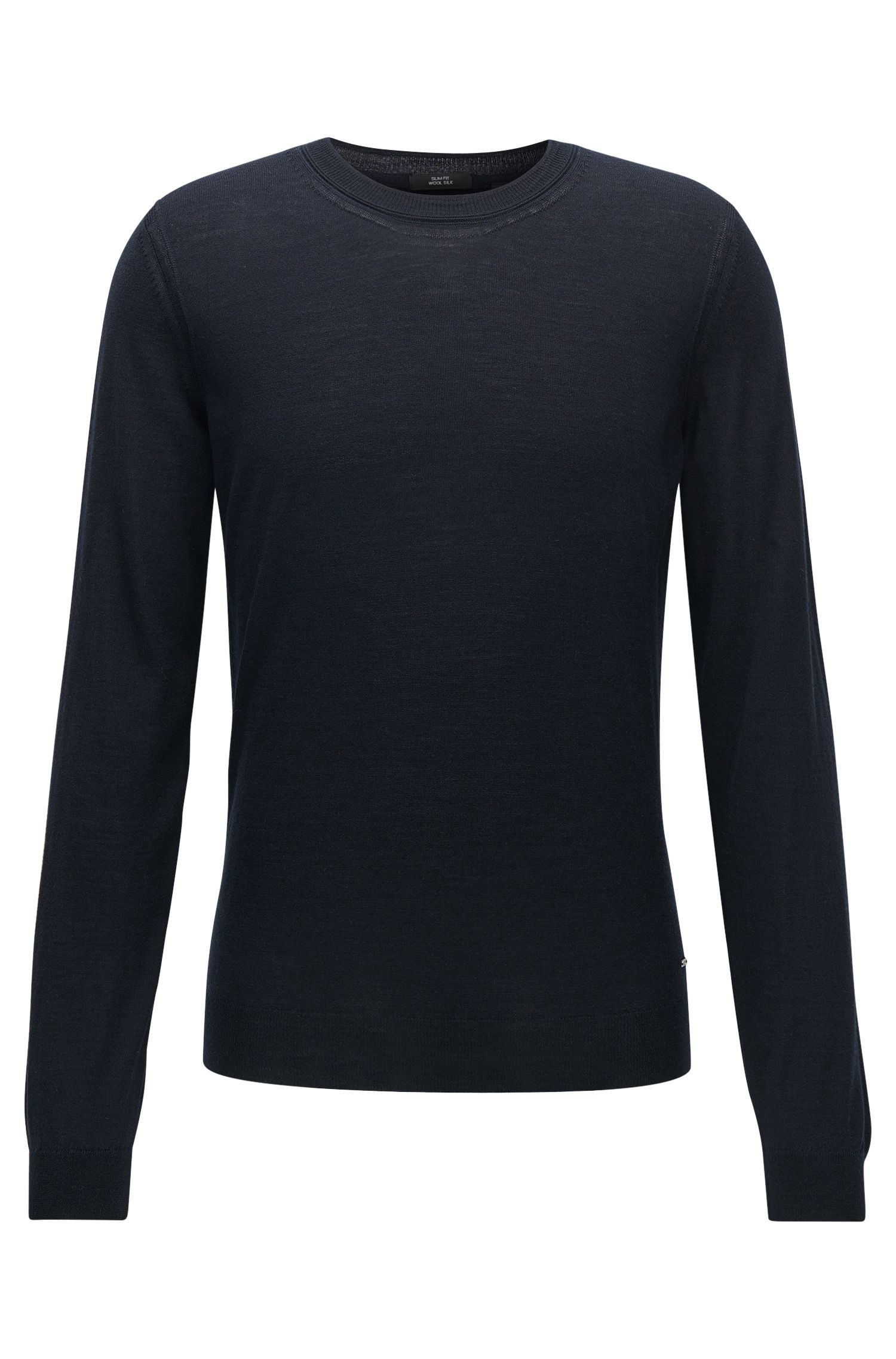 Slim-fit sweater in Italian wool and silk