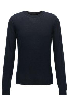 Jersey slim fit en lana y seda italiana, Azul oscuro