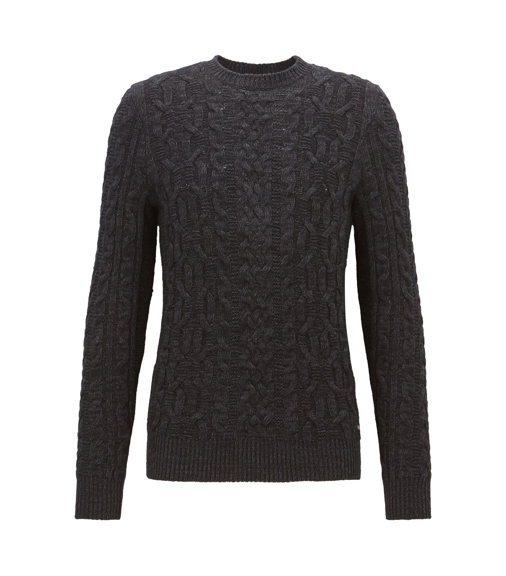 Gebreide trui van een katoenmix met kabelpatroon, Zwart