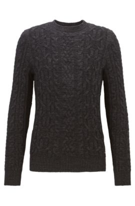 Cable-knit sweater in a cotton blend, Black