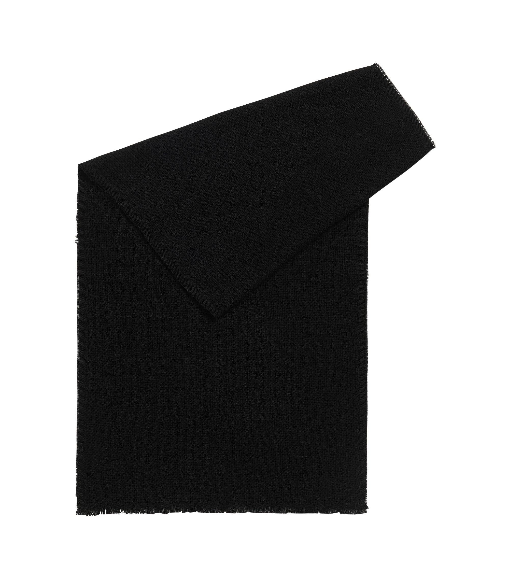 Sjaal van wol met gestructureerd weefpatroon, Zwart