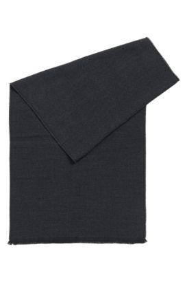 Sjaal van wol met gestructureerd weefpatroon, Donkergrijs