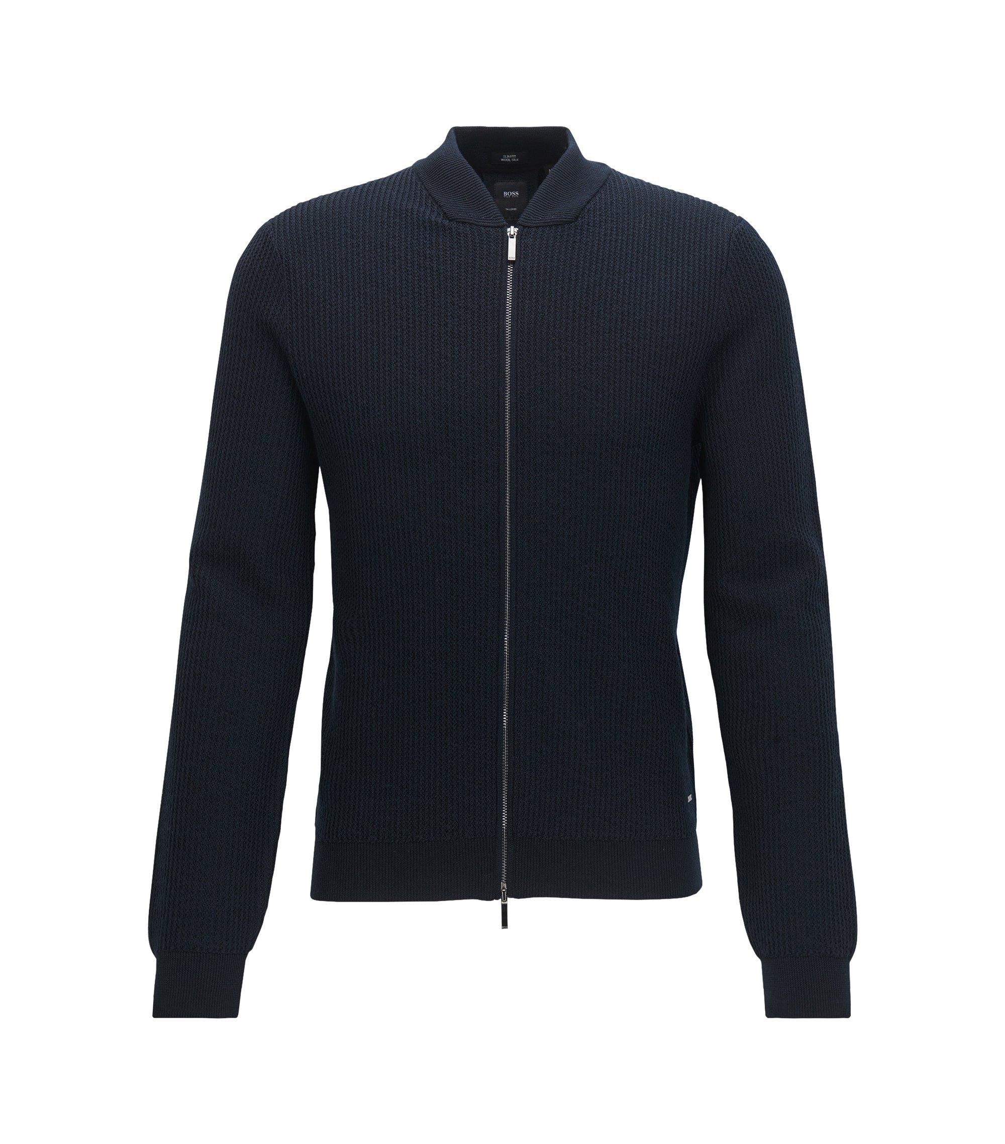 Veste zippée en maille côtelée de laine vierge mélangée, Bleu foncé