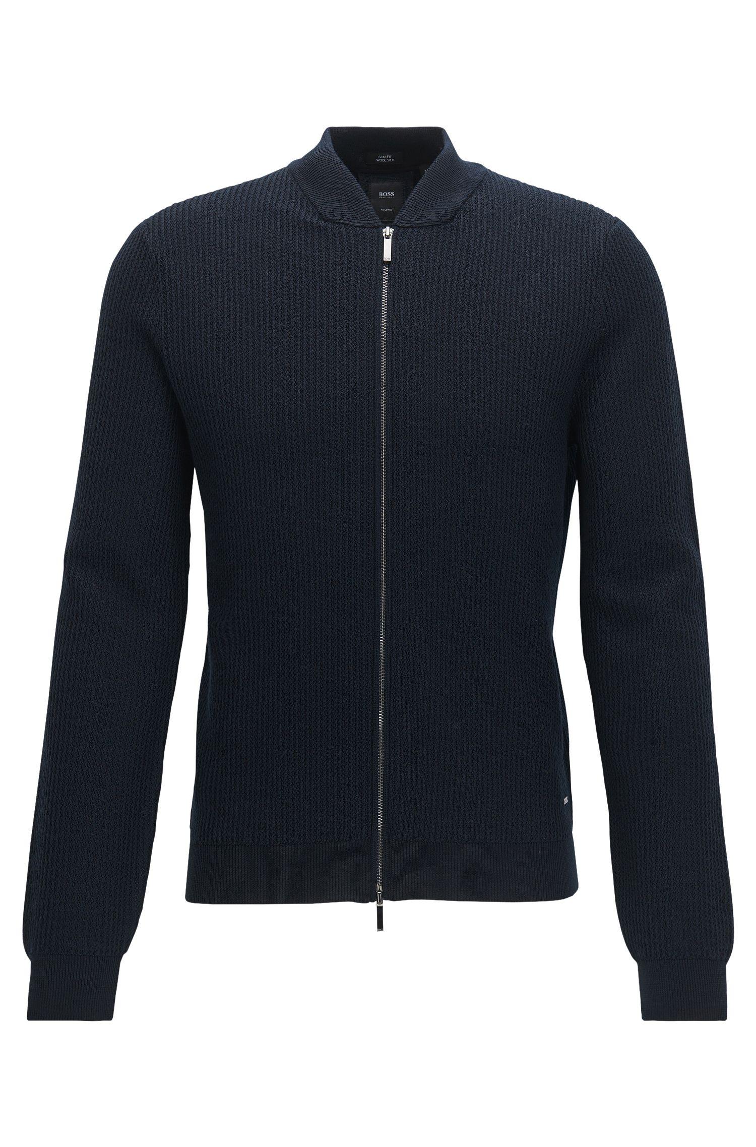 Rib-knit virgin wool-blend zip-through jacket