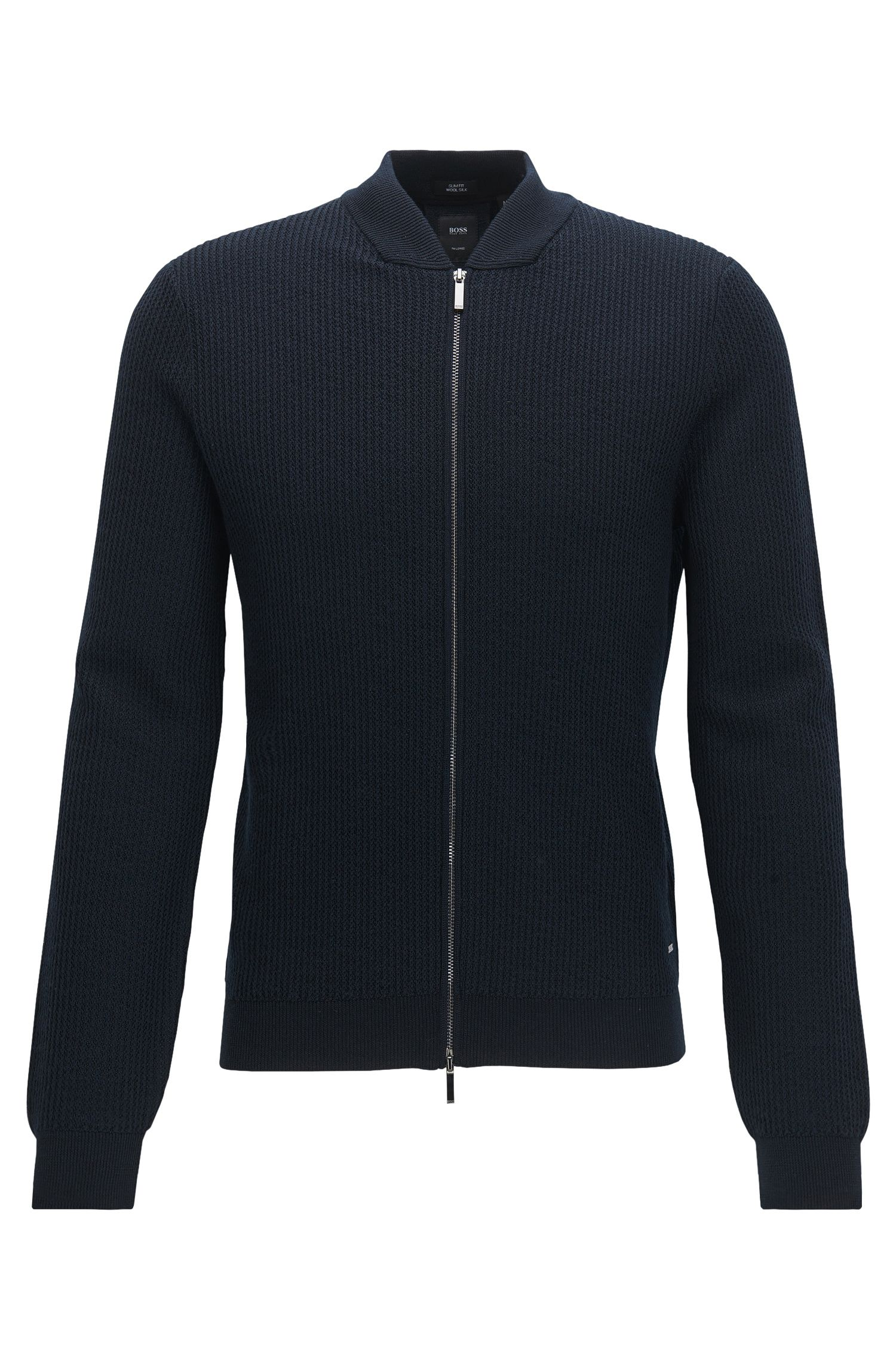 Rib-knit virgin wool-blend zip-through jacket