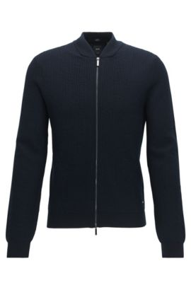 Rib-knit virgin wool-blend zip-through jacket, Dark Blue