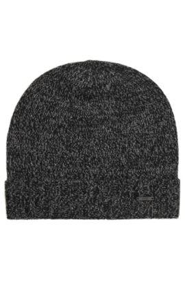 Mouliné-Mütze aus Kaschmir, Schwarz