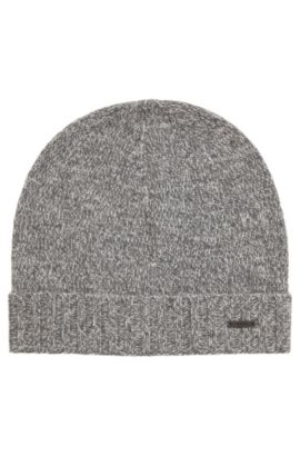 Beanie hat in mouliné cashmere, Grey
