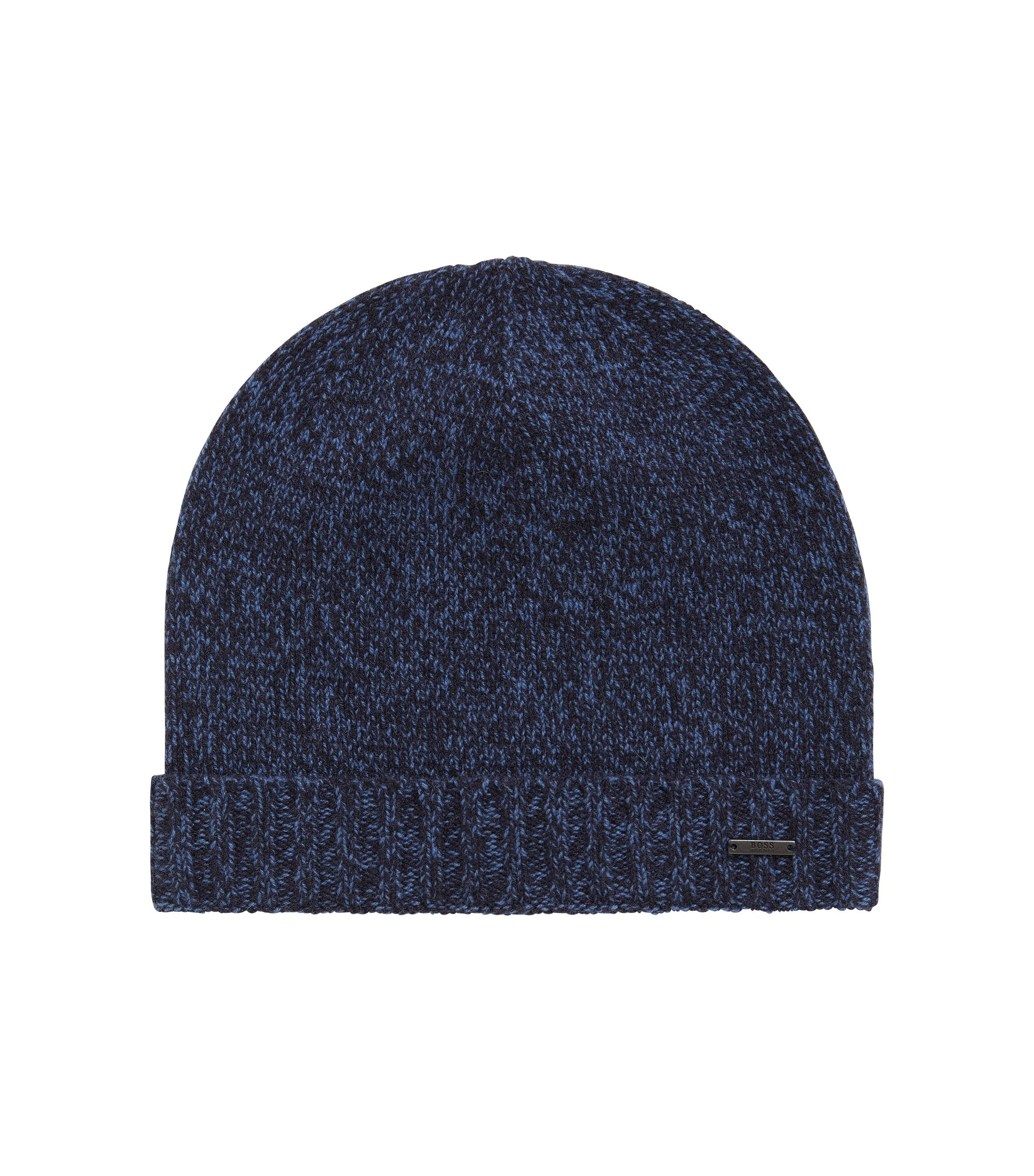 Beanie hat in mouliné cashmere, Dark Blue