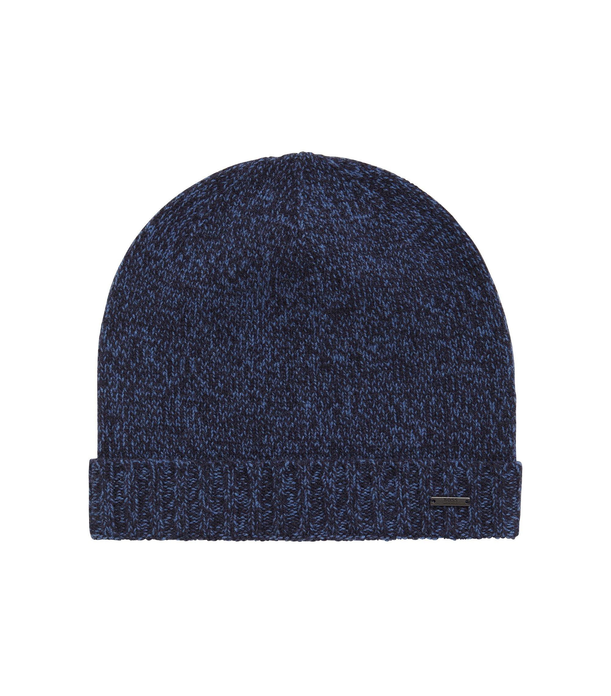 Bonnet en maille moulinée de cachemire, Bleu foncé