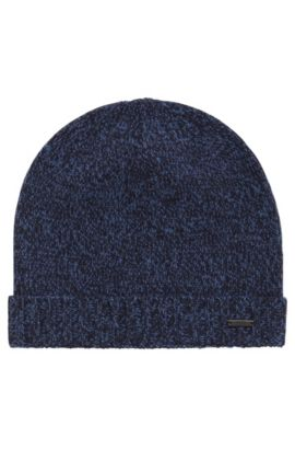 Zuccotto in cashmere mouliné, Blu scuro