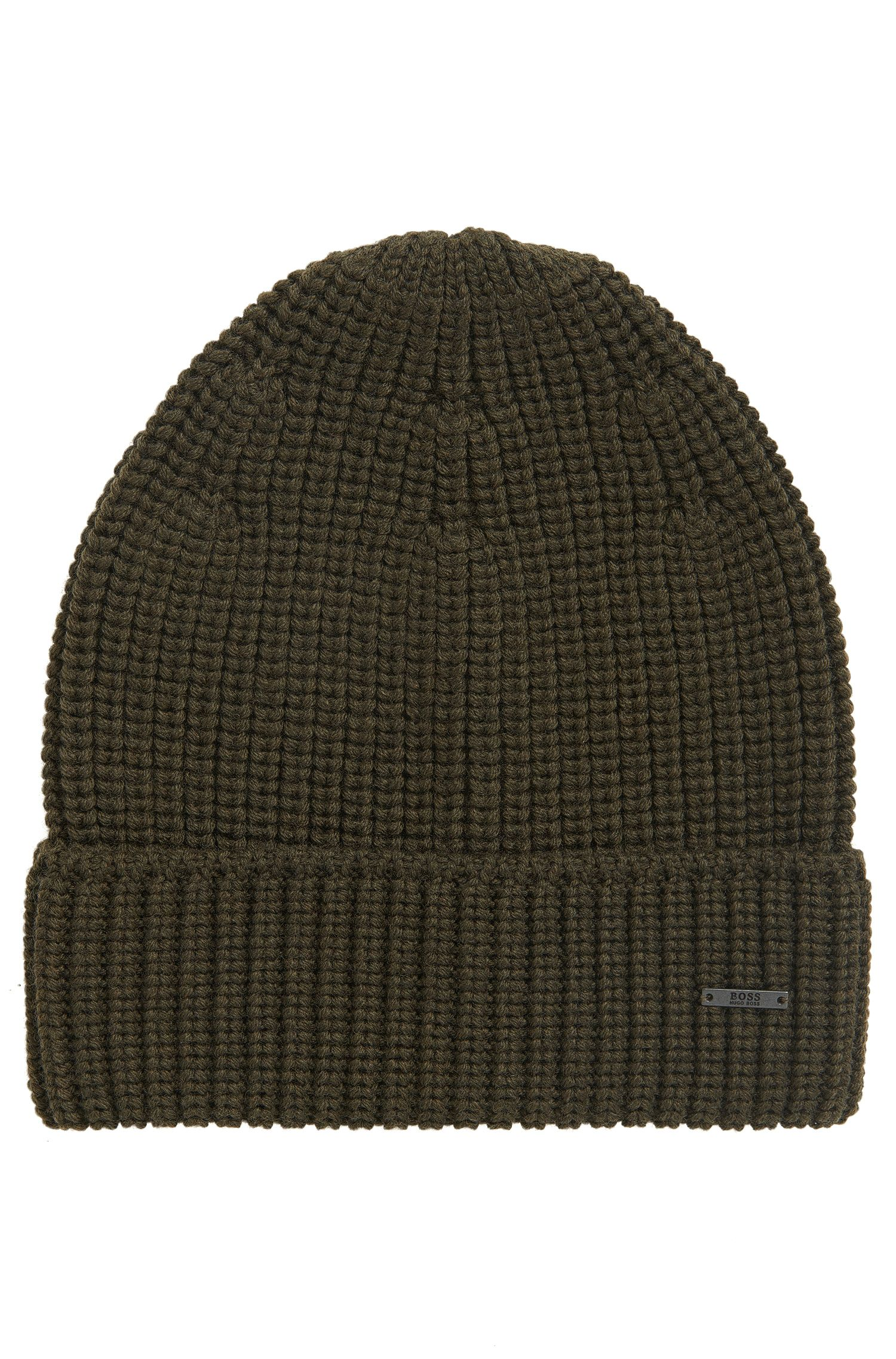 Knitted beanie hat in pure wool