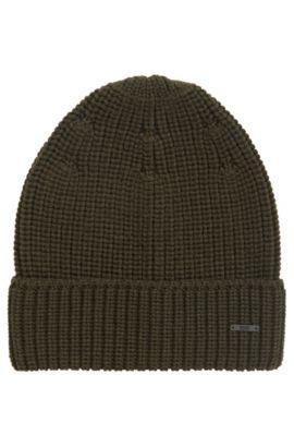 Zuccotto in lana vergine con lavorazione a maglia, Verde scuro