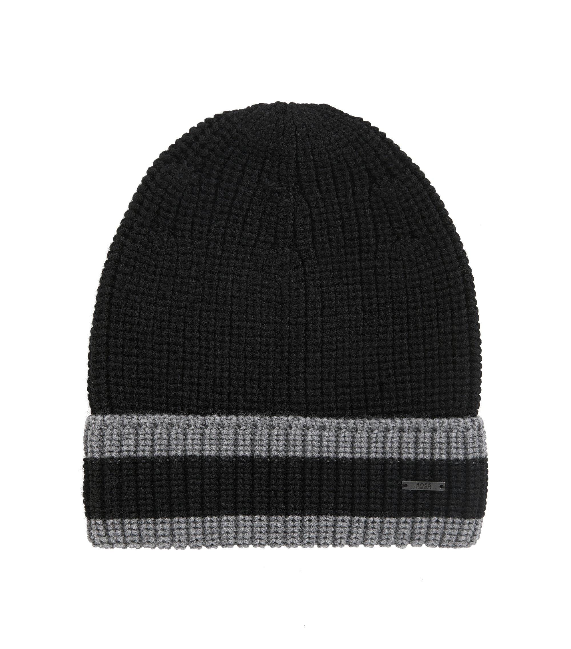Bonnet en maille de pure laine à rayures, Noir