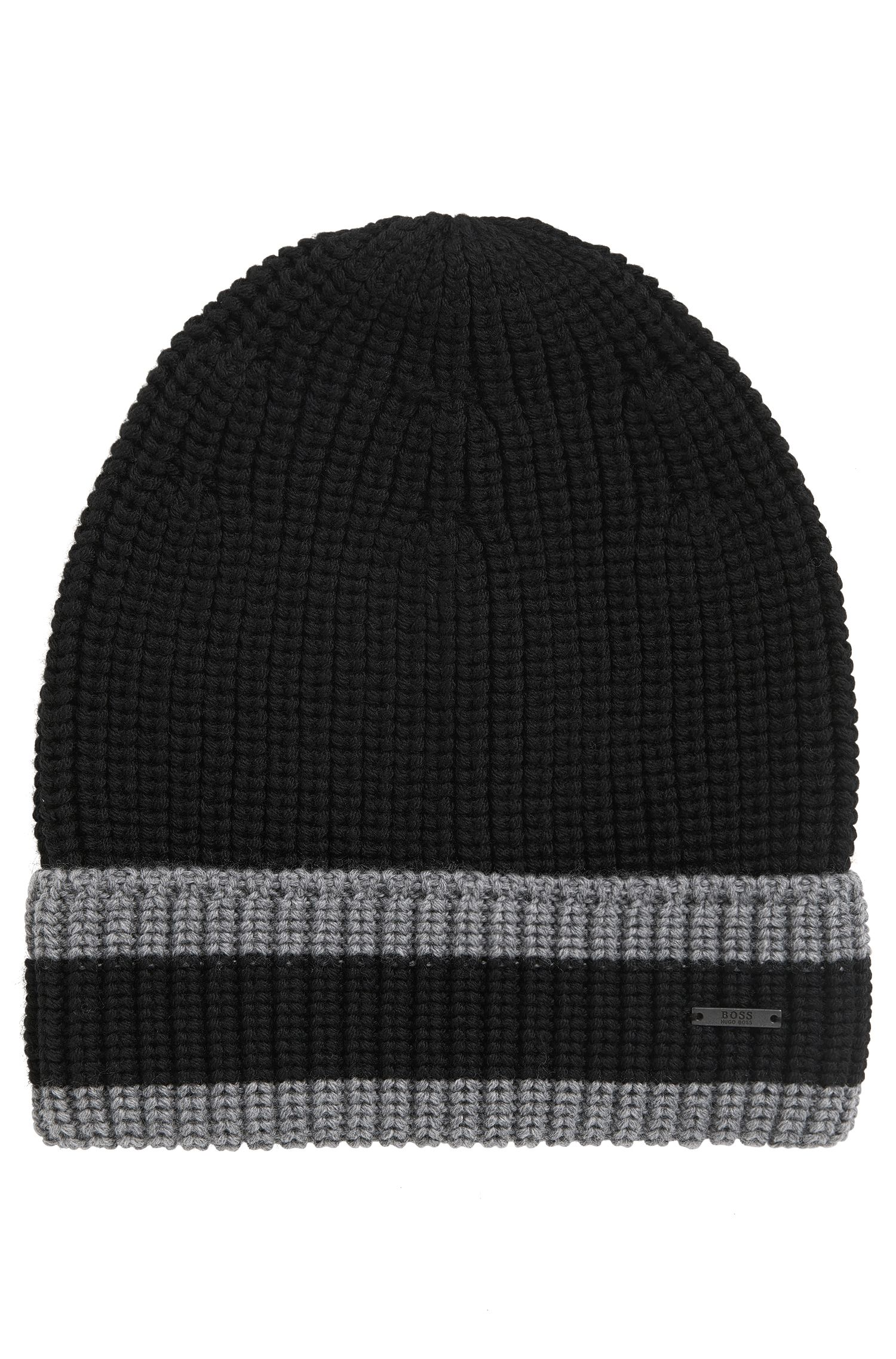Striped knitted hat in pure wool