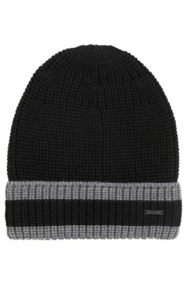 Striped knitted hat in pure wool, Black