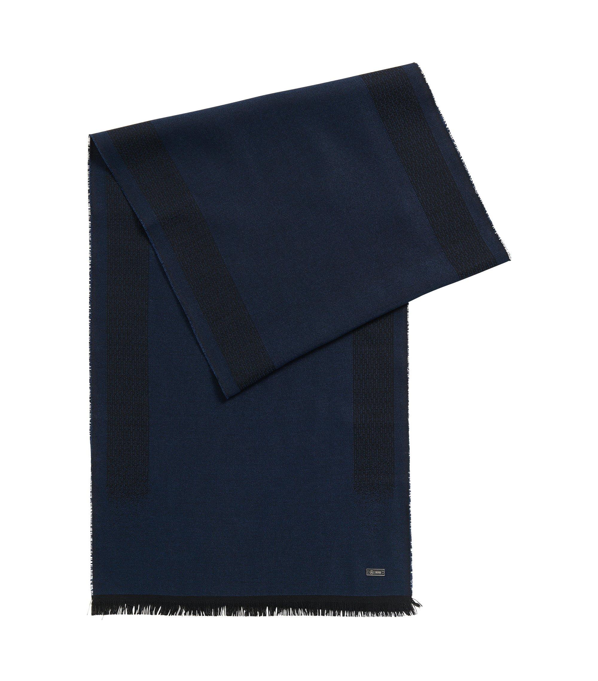 Lichte sjaal in een jacquard van een wolmix, Donkerblauw