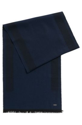 Lightweight scarf in a wool-blend jacquard, Dark Blue