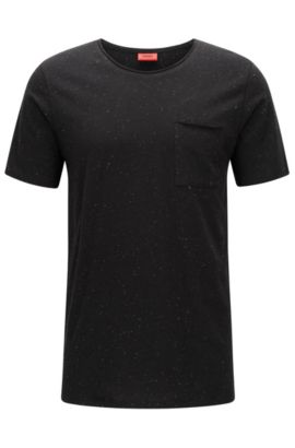 T-shirt relaxed fit in jersey annodato, Nero
