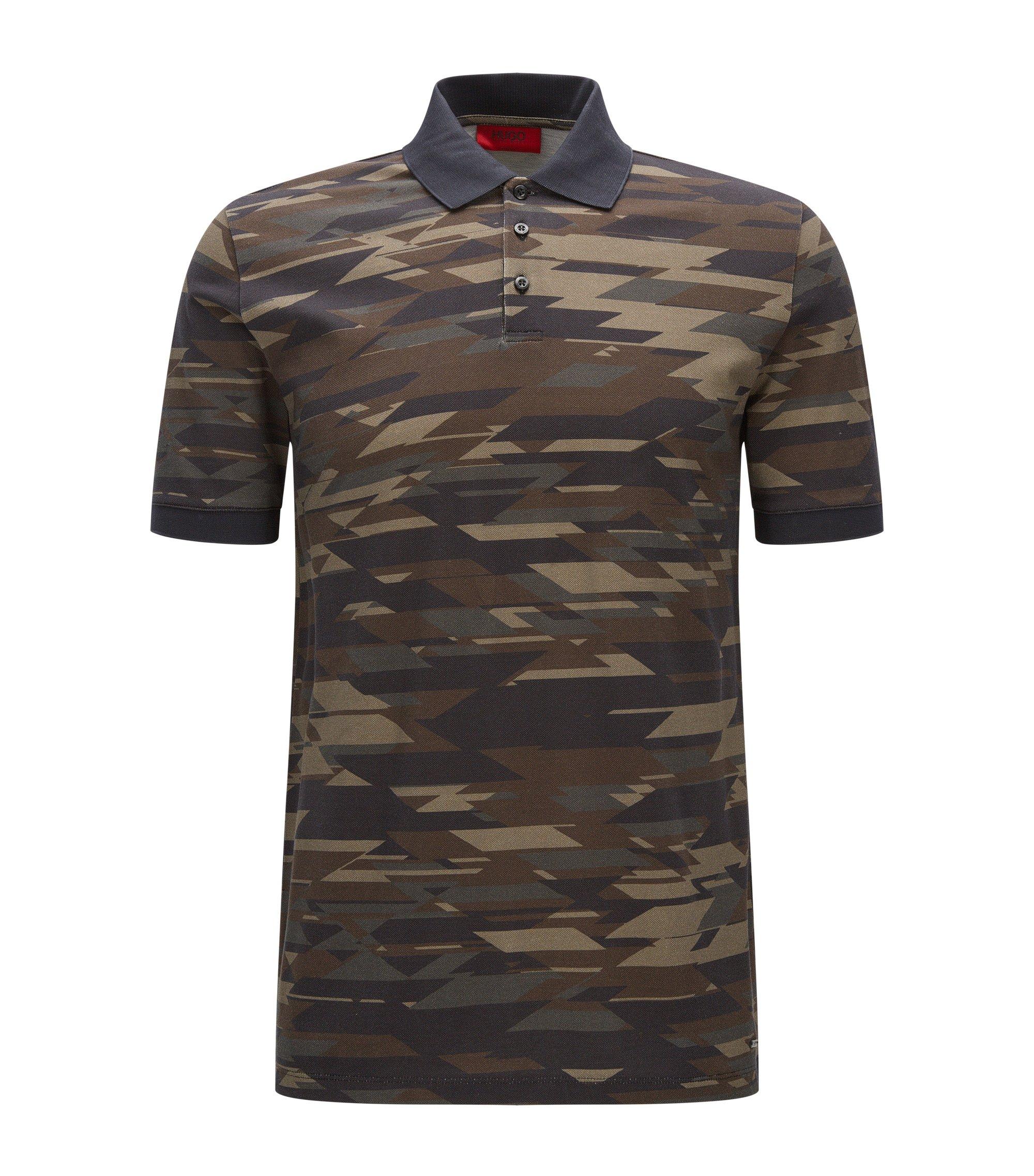 Polo Regular Fit en coton à imprimé camouflage, Vert sombre